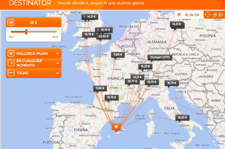 Encontrar vuelos baratos sin destino con easyjet