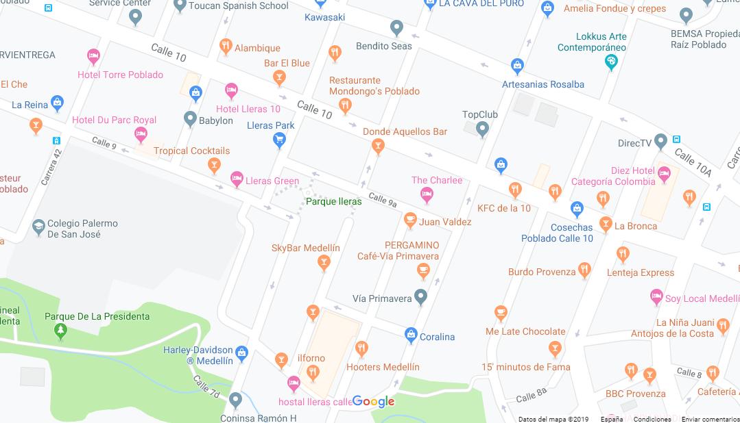 mapa parque Lleras